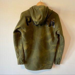 ❄️ Puma green tie dye bleach dyed cowl neck hoodie